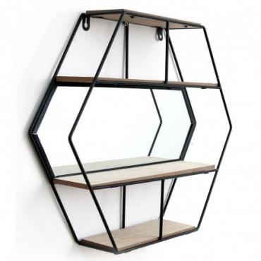 Etagère murale hexagonale 3 niveaux avec miroir