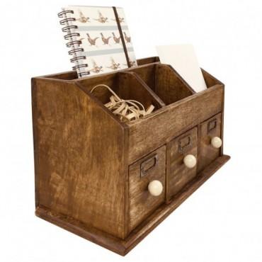 Organisateur de bureau rustique avec tiroir en bois avec 37cm