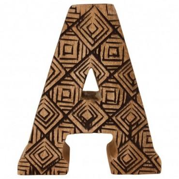 Lettre décorative A géométrique en bois à motifs sculpté à la main
