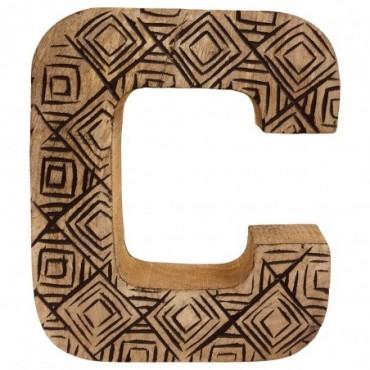 Lettre décorative C géométrique en bois à motifs sculpté à la main