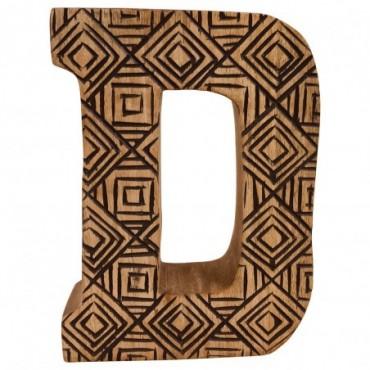 Lettre décorative D géométrique en bois à motifs sculpté à la main