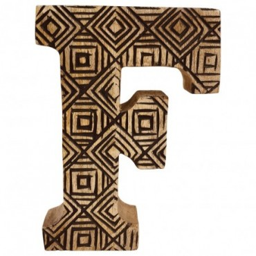 Lettre décorative F géométrique en bois à motifs sculpté à la main