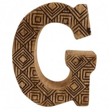 Lettre décorative G géométrique en bois à motifs sculpté à la main