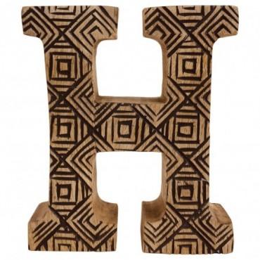 Lettre décorative H géométrique en bois à motifs sculpté à la main