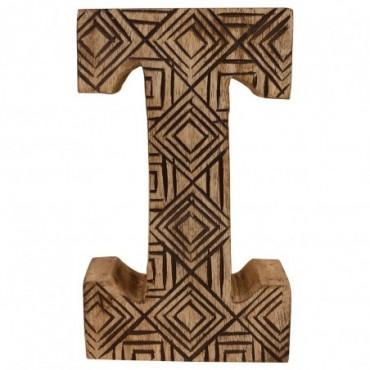 Lettre décorative I géométrique en bois à motifs sculpté à la main