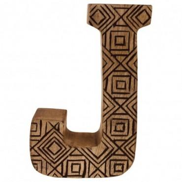 Lettre décorative J géométrique en bois à motifs sculpté à la main