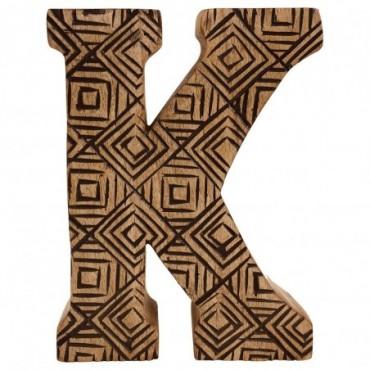 Lettre décorative K géométrique en bois à motifs sculpté à la main