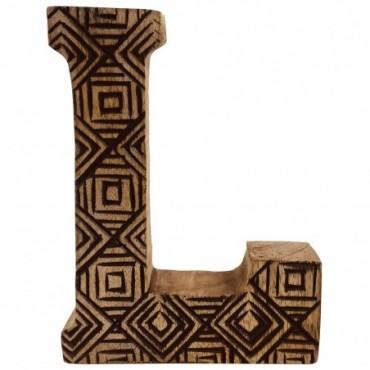 Lettre décorative L géométrique en bois à motifs sculpté à la main