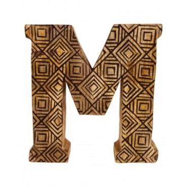Lettre décorative M géométrique en bois à motifs sculpté à la main