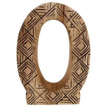 Lettre décorative O géométrique en bois à motifs sculpté à la main