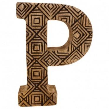 Lettre décorative P géométrique en bois à motifs sculpté à la main