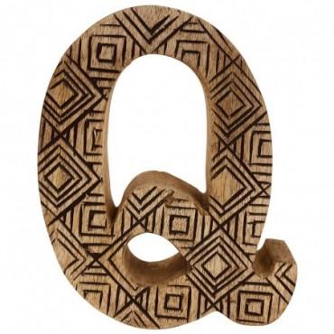 Lettre décorative Q géométrique en bois à motifs sculpté à la main