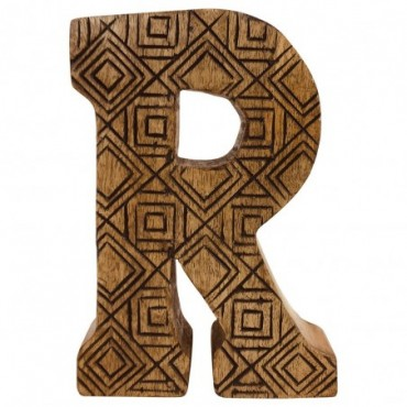Lettre décorative R géométrique en bois à motifs sculpté à la main