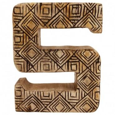 Lettre décorative S géométrique en bois à motifs sculpté à la main