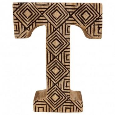 Lettre décorative T géométrique en bois à motifs sculpté à la main