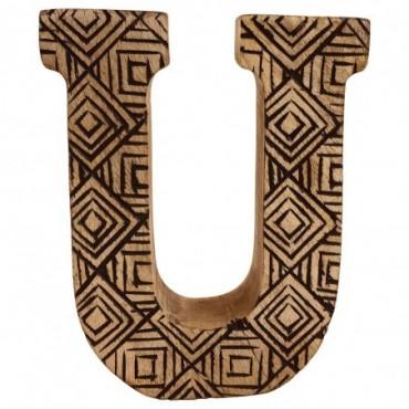 Lettre décorative U géométrique en bois à motifs sculpté à la main