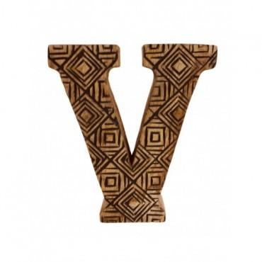 Lettre décorative V géométrique en bois à motifs sculpté à la main