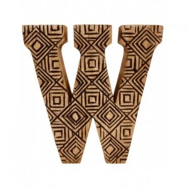 Lettre décorative W géométrique en bois à motifs sculpté à la main