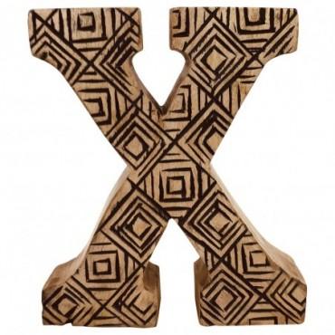 Lettre décorative X géométrique en bois à motifs sculpté à la main