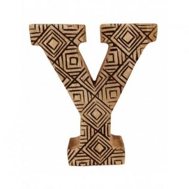 Lettre décorative Y géométrique en bois à motifs sculpté à la main