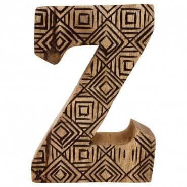 Lettre décorative Z géométrique en bois à motifs sculpté à la main