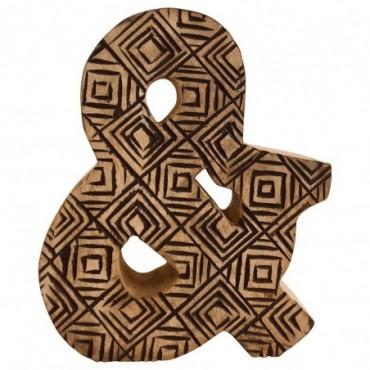 Lettre décorative & géométrique en bois à motifs sculpté à la main