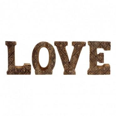 Lettres décoratives LOVE en bois à motifs sculpté à la main