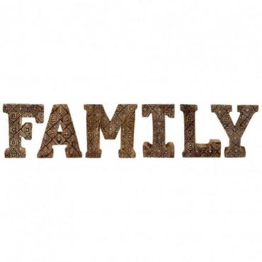 Lettres décoratives FAMILY en bois à motifs sculpté à la main