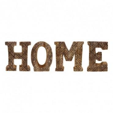 Lettres décoratives HOME en bois à motifs sculpté à la main
