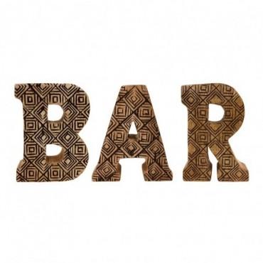 Lettres décoratives BAR en bois à motifs sculpté à la main