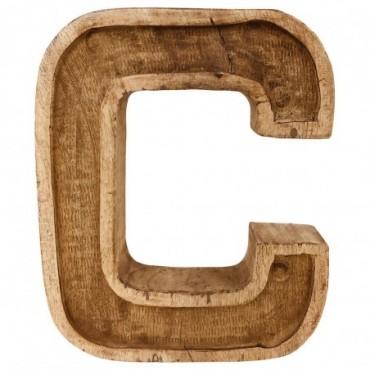 Lettre décorative C géométrique en bois à relief sculpté à la main