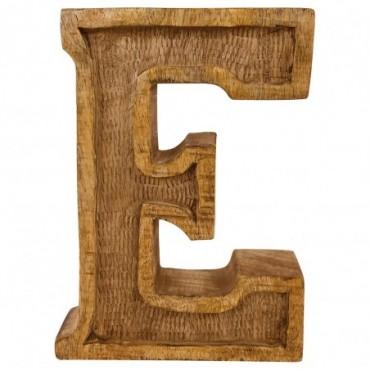 Lettre décorative E géométrique en bois à relief sculpté à la main