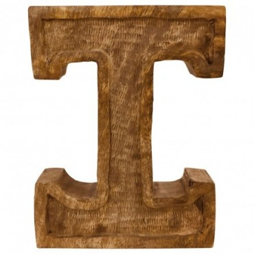 Lettre décorative I géométrique en bois à relief sculpté à la main