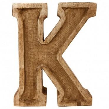 Lettre décorative K géométrique en bois à relief sculpté à la main