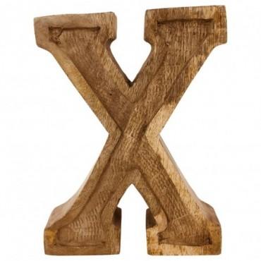 Lettre décorative X géométrique en bois à relief sculpté à la main