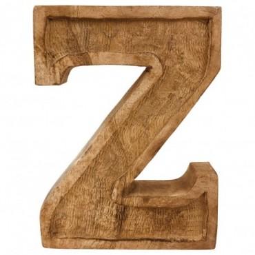 Lettre décorative Z géométrique en bois à relief sculpté à la main