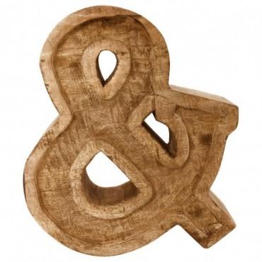 Lettre décorative & géométrique en bois à relief sculpté à la main
