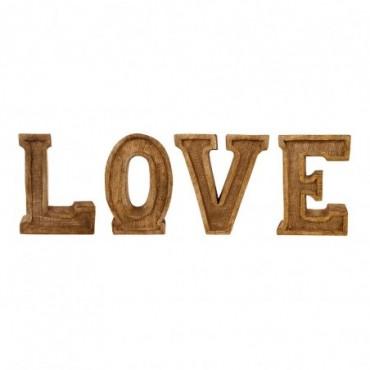 Lettres décoratives LOVE en bois à relief sculpté à la main