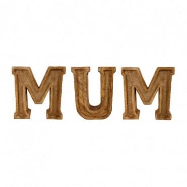 Lettres décoratives MUM en bois à relief sculpté à la main