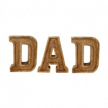 Lettres décoratives DAD en bois à relief sculpté à la main