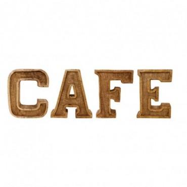 Lettres décoratives CAFE en bois à relief sculpté à la main