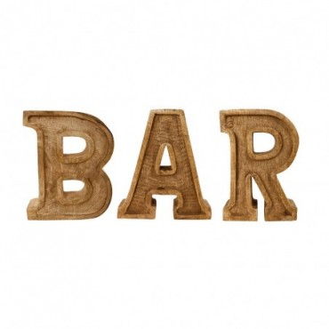 Lettres décoratives BAR en bois à relief sculpté à la main