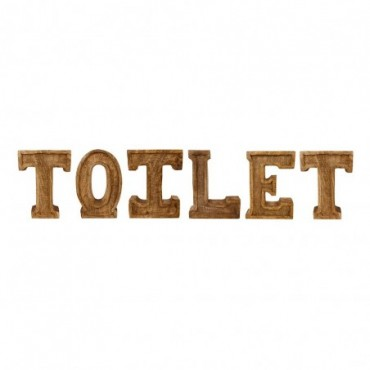 Lettres décoratives TOILET en bois à relief sculpté à la main