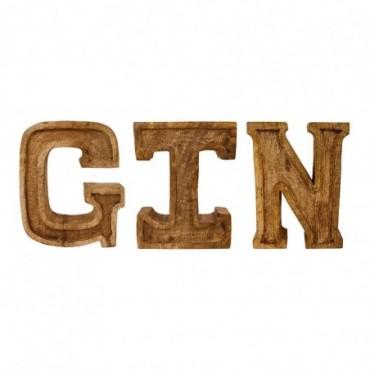 Lettres décoratives GIN en bois à relief sculpté à la main