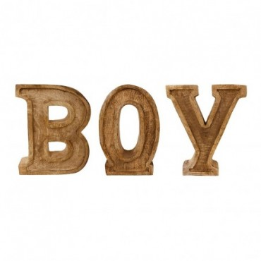 Lettres décoratives BOY en bois à relief sculpté à la main