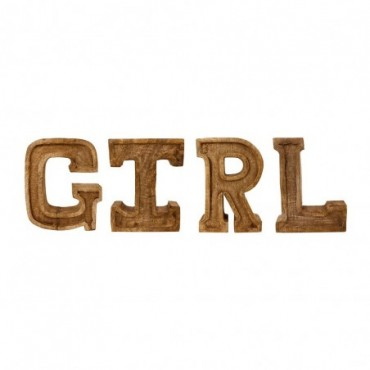 Lettres décoratives GIRL en bois à relief sculpté à la main