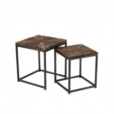 Set De 2 Tables Gigogne Shanil Bois/Metal Naturel/Gris