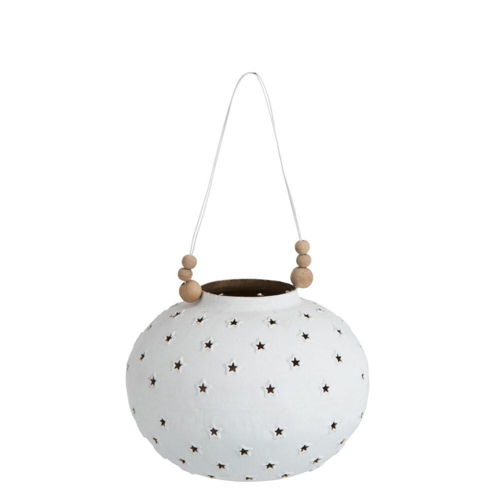 Lanterne Etoiles Metal Blanc
