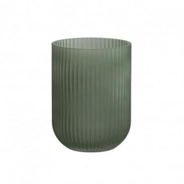 Vase Stries Verre Vert Foncé L