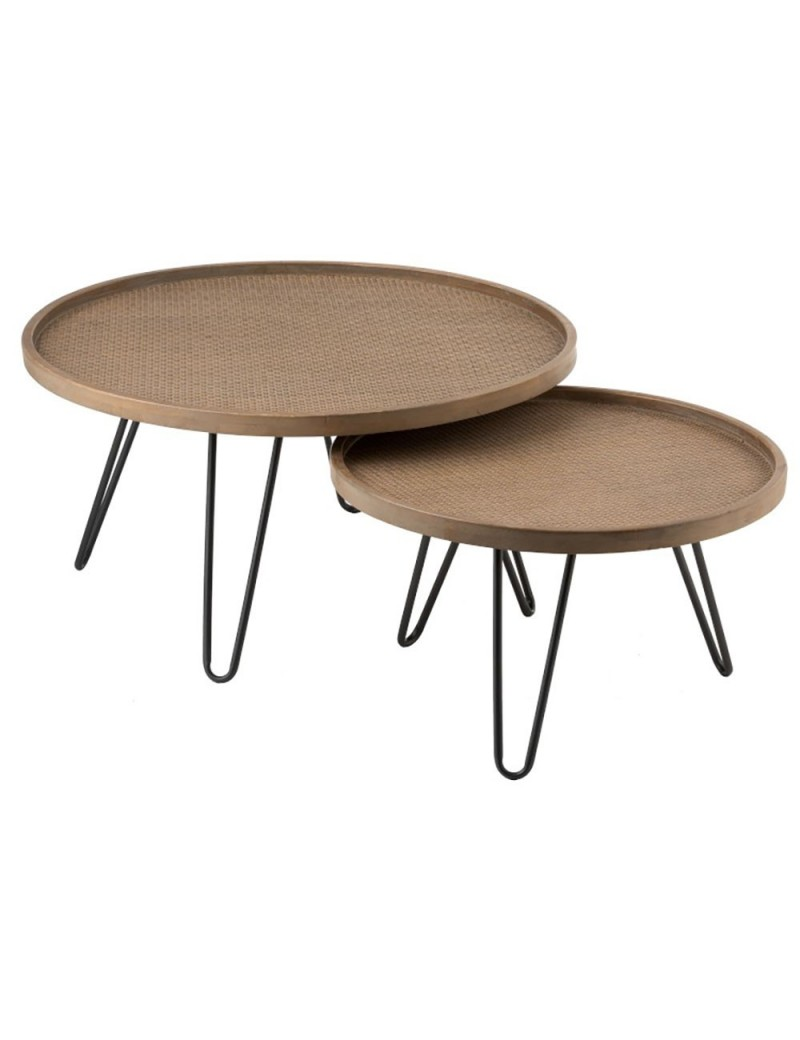 Set De 2 Tables Gigogne Ronde Rotin Naturel